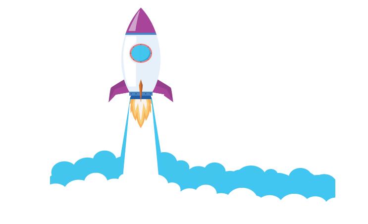Fusée qui décolle qui représente Lae Digital qui va dans l'espace