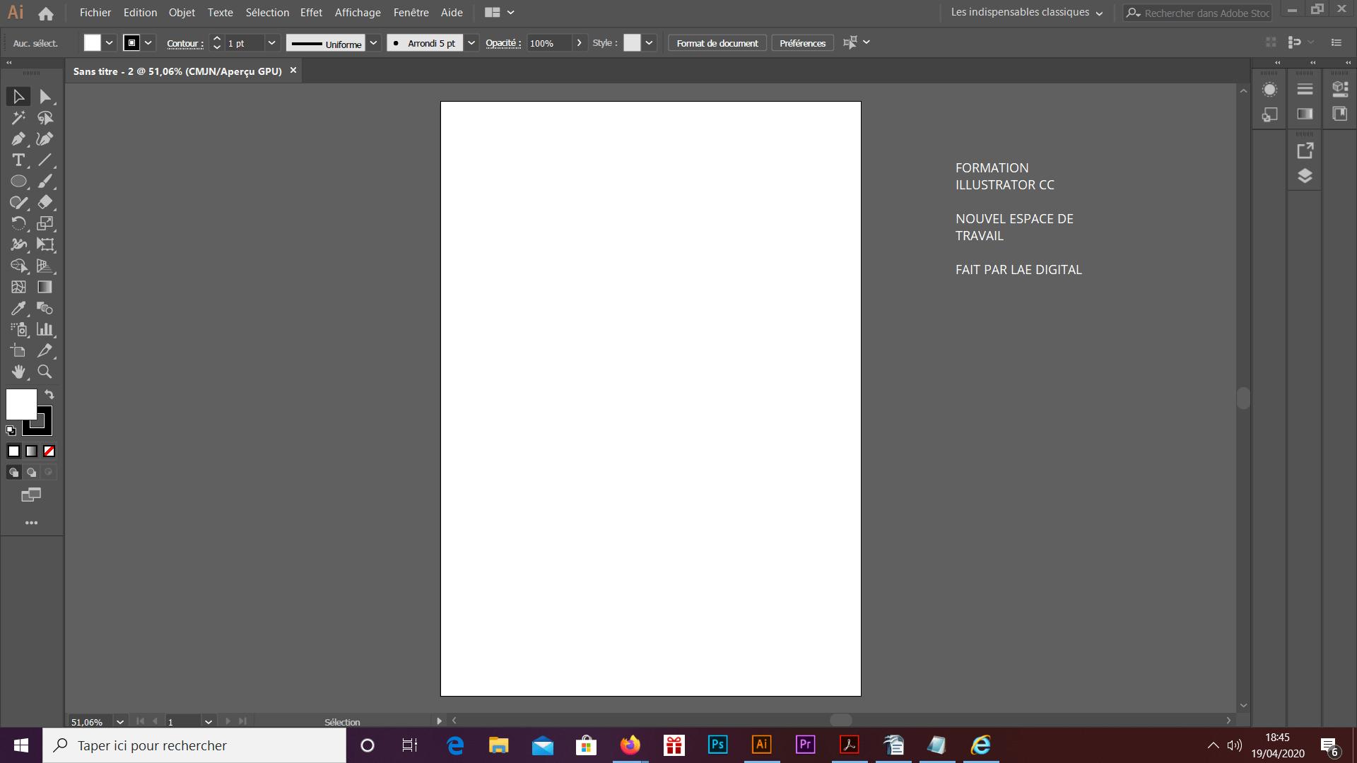 C'est une image avec un nouvel espace de travail vu en formation Illustrator cc faite par Lae Digital